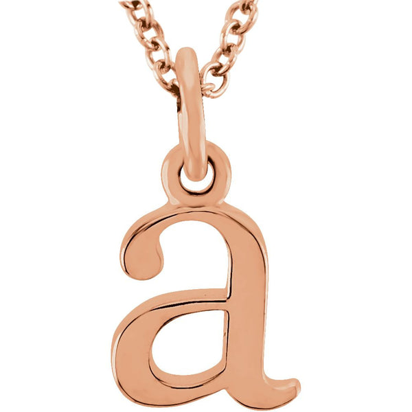 "14k Rose Gold ""a"" Lowercase Initial 16"" Necklace"
