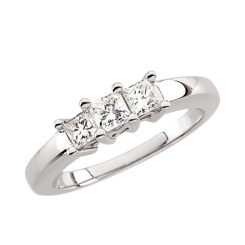5/8 CTTW Diamond Anniversary Band in 14k White Gold ( Size 6 )