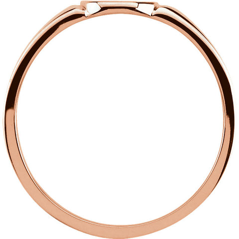 10k Rose Gold 7x6mm Solid Oval Signet Ring, Size 7