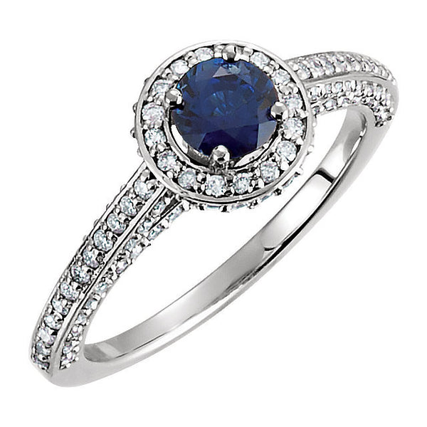 14k White Gold Sapphire & 5/8 CTW Diamond Engagement Ring , Size 7