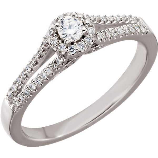 14k White Gold 1/3 CTW Diamond Engagement Ring Size 7