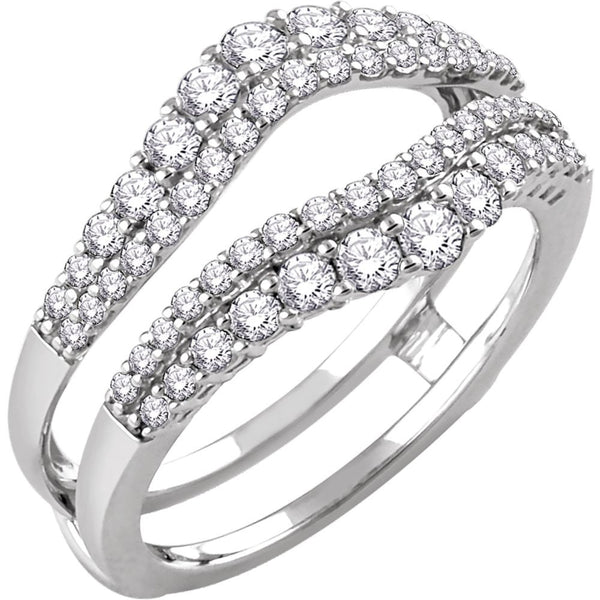 14k White Gold 1 CTW Diamond Ring Guard, Size 7