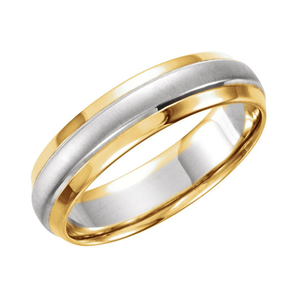 14K Yellow & White 6mm Step-Edge Band Size 10