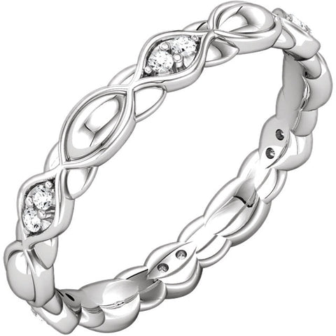14k White Gold Cubic Zirconia Sculptural Eternity Band, Size 7