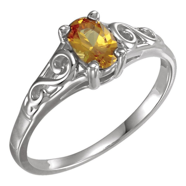 Sterling Silver November Imitation Birthstone Ring , Size 5