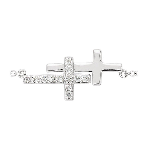 "Sterling Silver Cubic Zirconia Double Sideways Cross 8"" Bracelet"