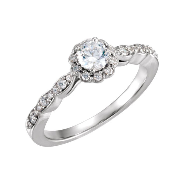 14k White Gold 1/2 CTW Diamond Halo-style Engagement Ring, Size 7