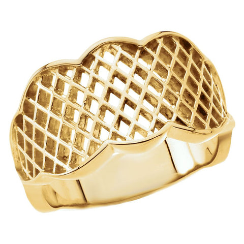14k Yellow Gold Latticework Band, Size 6
