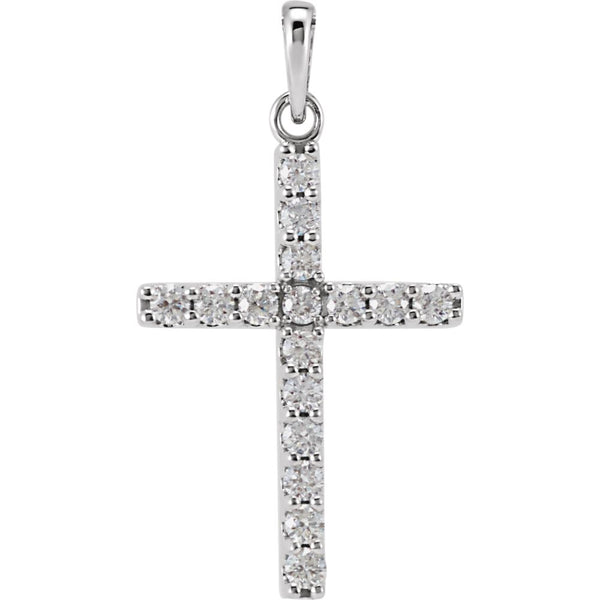 14k White Gold 1/2 CTW Diamond Cross Pendant