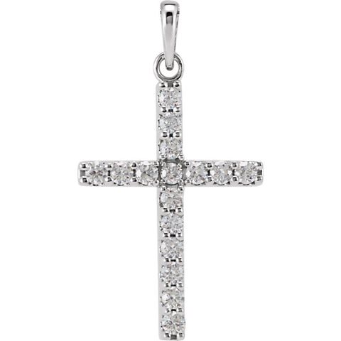 14k White Gold 1/2 ctw. Diamond Cross Pendant