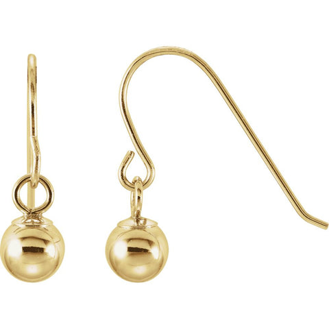 14k Yellow Gold 15x4mm Kid's Bishop Hook Ball Earrings