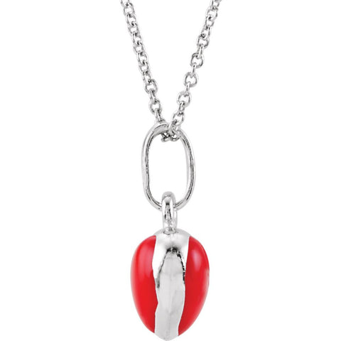 "Sterling Silver Red Enamel Puff Heart 14-16"" Necklace"