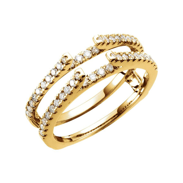 14k Yellow Gold 1/2 CTW Diamond Ring Guard Size 7
