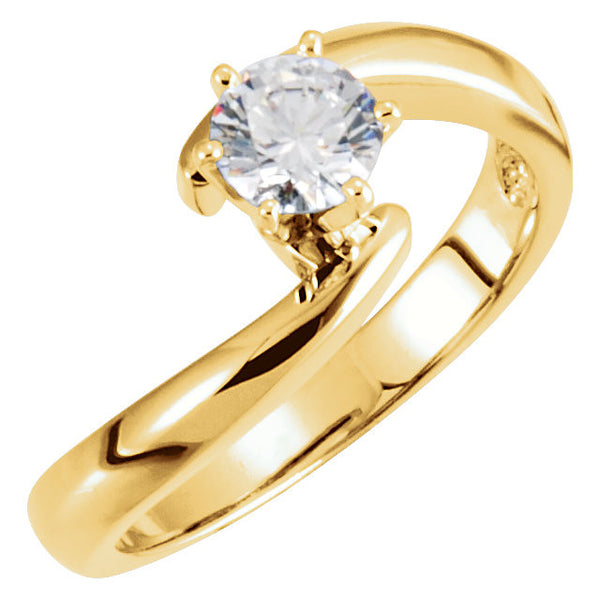 14k White Gold Solitaire Engagement Ring Base, Size 7