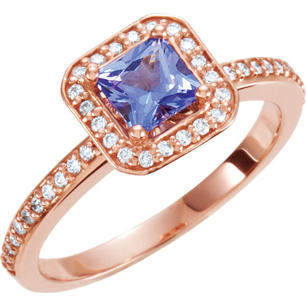14k Rose Gold Tanzanite & 1/5 CTW Diamond Engagement Ring, Size 7