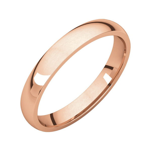 10k Rose Gold 3mm Light Comfort Fit Band, Size 7