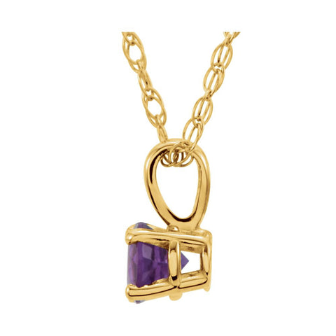 "14k Yellow Gold Amethyst 14"" Necklace"