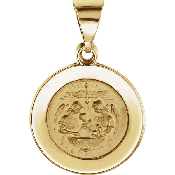 14k Yellow Gold 14.75mm Round Hollow Baptismal Medal