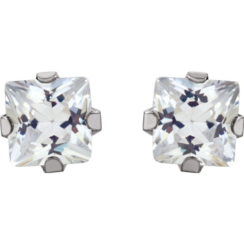 14k White Gold Cubic Zirconia Inverness Piercing Earrings
