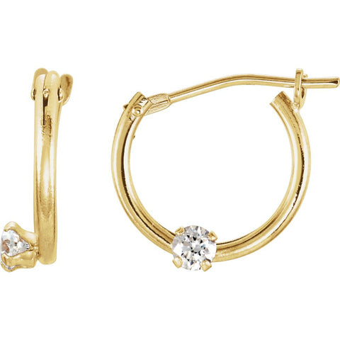14K Yellow Gold Kids Cubic Zirconia Hoop Earrings