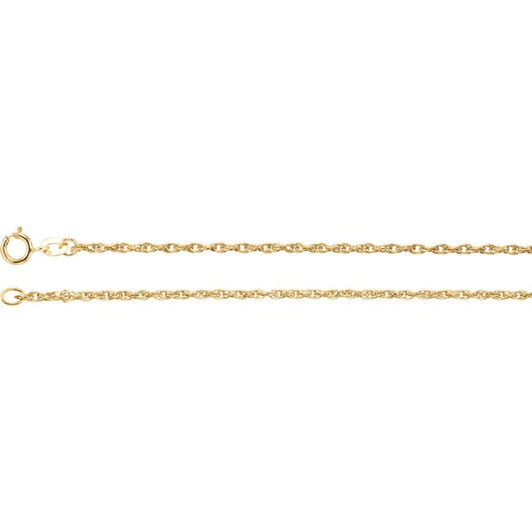 "14k Yellow Gold 1.5mm Rope 18"" Chain"