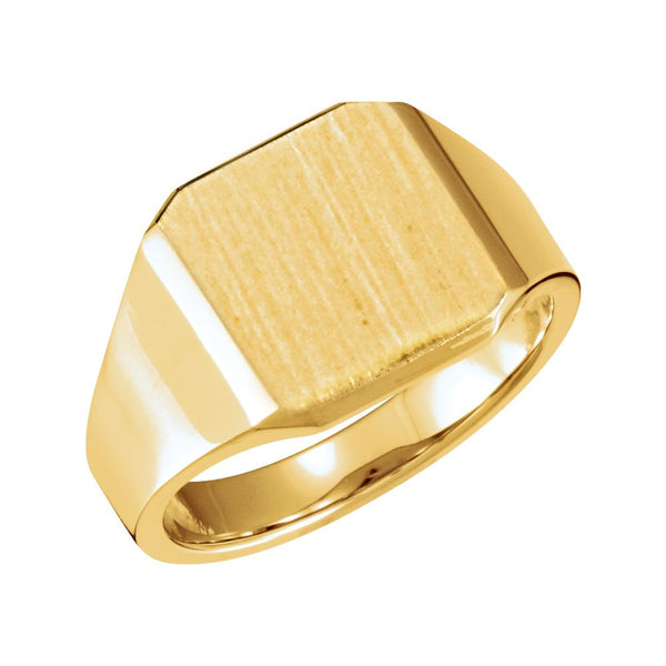 10k Yellow Gold 14mm Men's Solid Signet Ring, Size 10