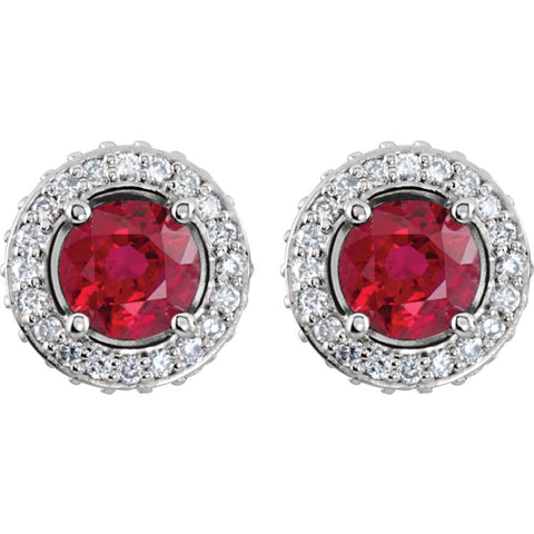14k White Gold Ruby & 3/8 CTW Diamond Earrings