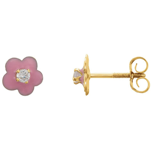 Kids Enamel Flower & Cubic Zirconia Earrings in 14K Yellow Gold