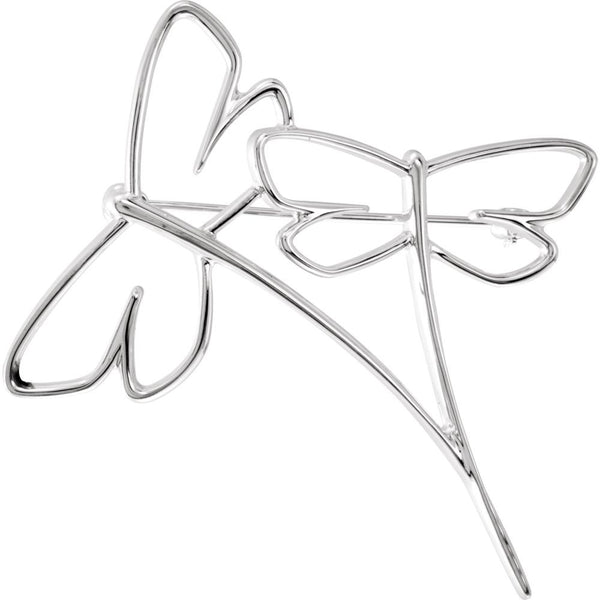 14k White Gold Dragonfly Brooch
