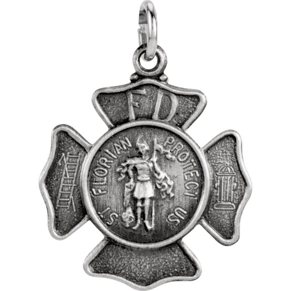 Sterling Silver 16.75mm St. Florian Pendant