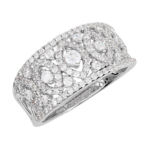 Cubic Zirconia Anniversary Band in Sterling Silver ( Size 7 )