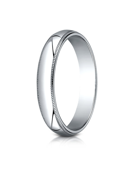 Benchmark Platinum 4mm Slightly Domed Traditional Oval Wedding Band Ring with Milgrain (Sizes 4 - 15 )