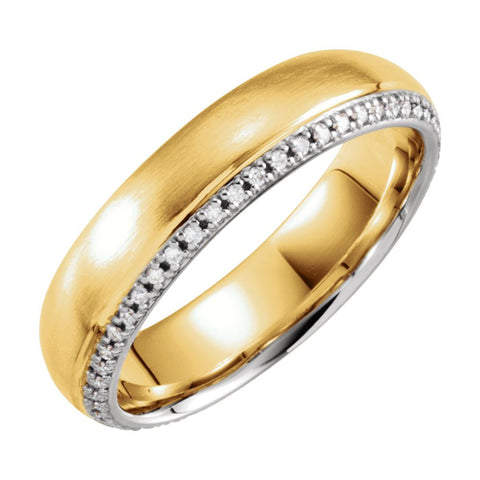 14k Yellow & White Gold 6mm 1/4 ctw. Diamond Comfort-Fit Wedding Band for Men, Size 11