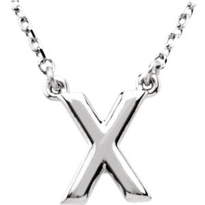 "Sterling Silver Letter ""X"" Block Initial 16"" Necklace"