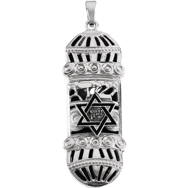 Sterling Silver 37x13mm Mezuzah Pendant with Blue & White Enamel