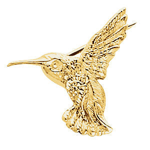 14k Yellow Gold 19x21mm Hummingbird Brooch