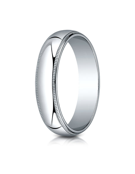 Benchmark 10K White Gold 5mm Slightly Domed Traditional Oval Wedding Band Ring with Milgrain
