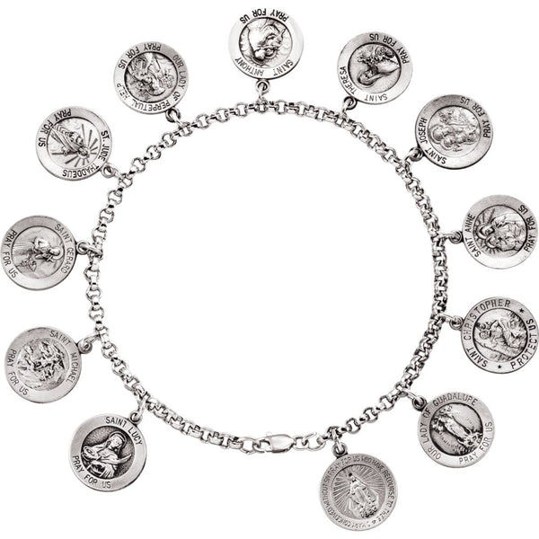 "Sterling Silver Saints 7.5"" Bracelet"