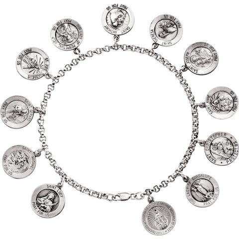 Saints Bracelet in Sterling Silver ( 7.50-Inch )