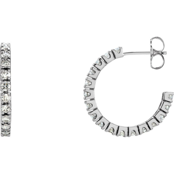 14k White Gold 1 CTW Diamond Hoop Earrings