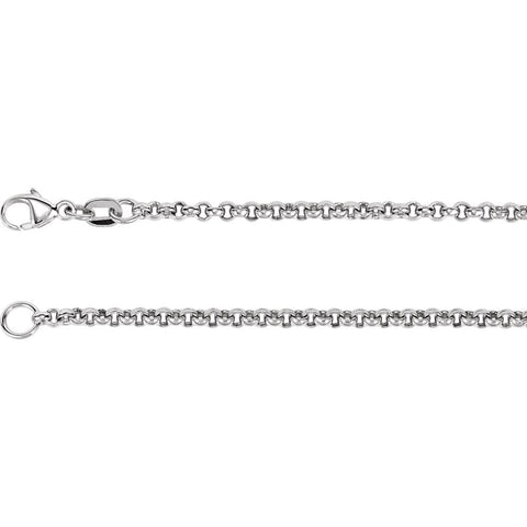 2.5 mm Rolo Chain in 18k White Gold ( 18-Inch )