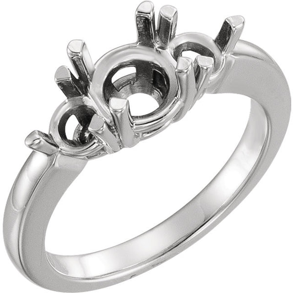 Platinum 6.5mm Round Three-Stone Engagement Ring Mounting, Size 6