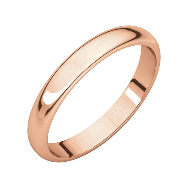 10k Rose Gold 3mm Half Round Band , Size 8