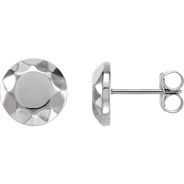 14k White Gold Faceted Design Circle Earrings