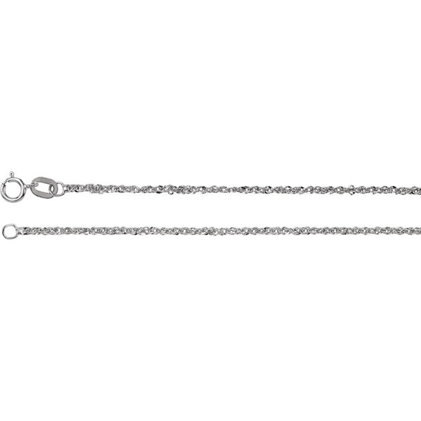 "14k White Gold 1.25mm Sparkle Singapore 16"" Chain"