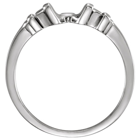 14k White Gold Shadow Band, Size 6.75