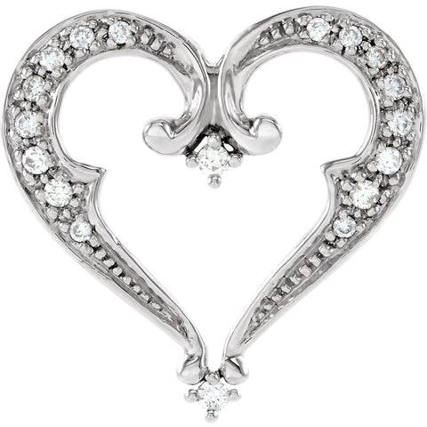 14k White Gold 1/5 CTW Diamond Heart Pendant Slide