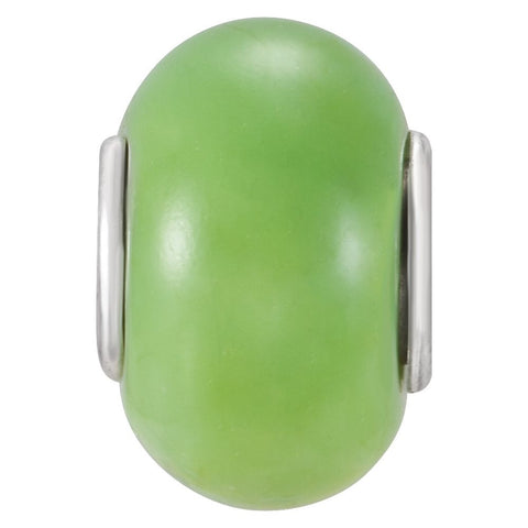 Sterling Silver 9x14mm Lime Green Glass Bead