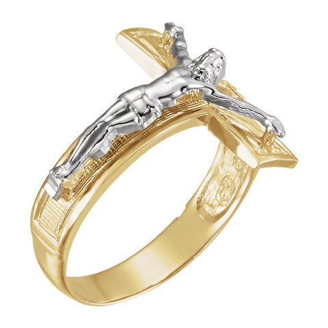 Two Tone Men's Crucifix Cross Ring in 14k White and Yellow Gold ( Size 10 )