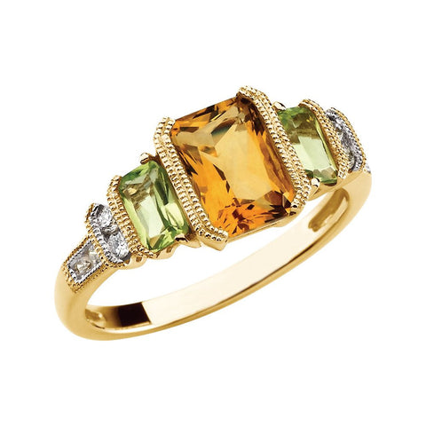 14k Yellow Gold Citrine, Peridot & Diamond Accented Granulated Design Ring, Size 7